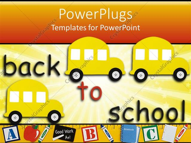 Powerpoint template three yellow school buses with colorful back to powerpoint template displaying three yellow school buses with colorful back to school text toneelgroepblik Gallery