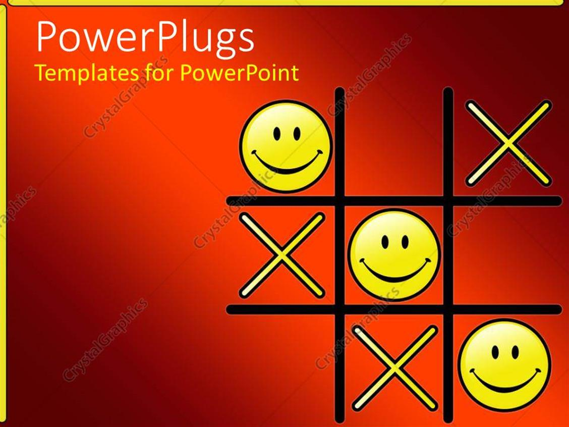 Powerpoint Template Tic Tac Toe Game With Winning Smiley Face Os