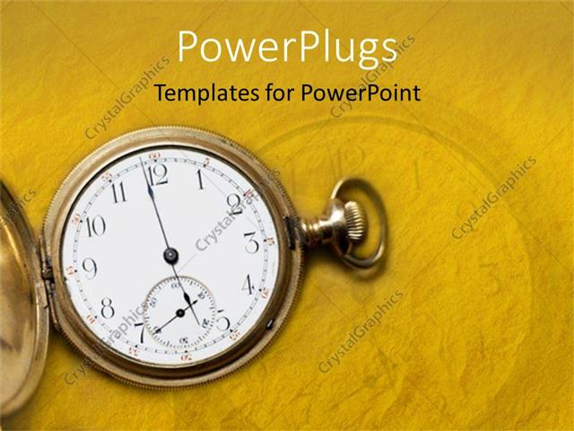 Powerpoint template time metaphor with vintage antique gold pocket powerpoint template displaying time metaphor with vintage antique gold pocket watch yellow background toneelgroepblik Gallery