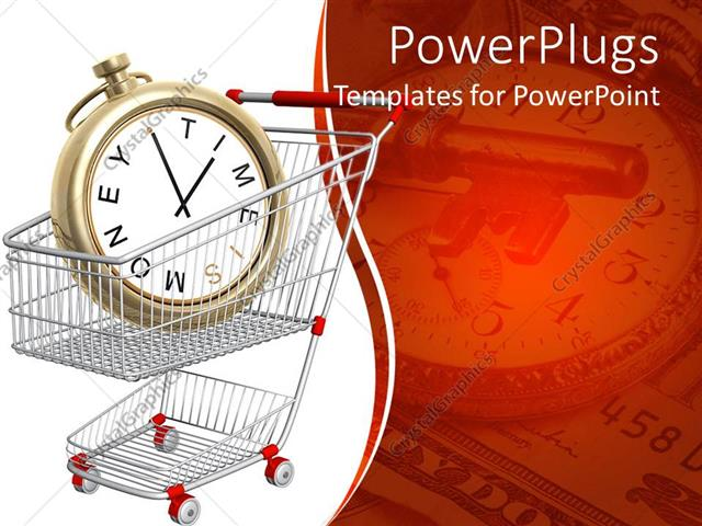PowerPoint Template: Time is money metaphor with clock in