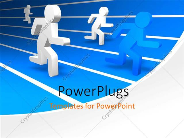 PowerPoint Template Displaying Track Events with 3D Men Running in Different Lanes and Blue Winner