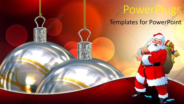 powerpoint template displaying two large christmas ornaments with santa clause beside them