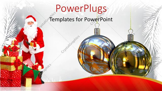 PowerPoint Template Displaying a Close Up View of Two Christmas Ornaments with Santa Clause Beside them