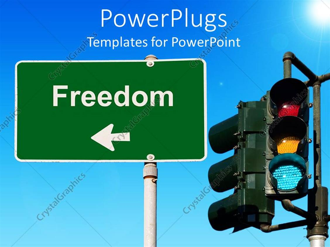 PowerPoint Template Displaying Traffic Light Beside a Freedom Signpost