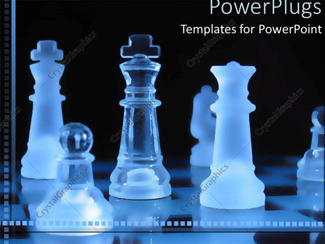 powerpoint template transparent blue pieces on a chess board on a
