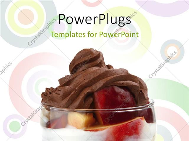 PowerPoint Template Displaying Transparent Glass with Red Apple and Chocolate on Abstract Background with Circles