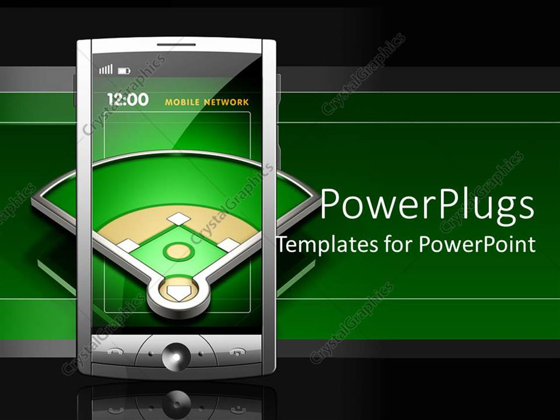 powerpoint template transparent screen touch screen smartphone showing baseball playground on. Black Bedroom Furniture Sets. Home Design Ideas