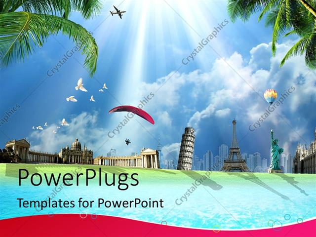 Powerpoint template travel around the world conceptual depiction powerpoint template displaying travel around the world conceptual depiction with international landmarks toneelgroepblik Image collections