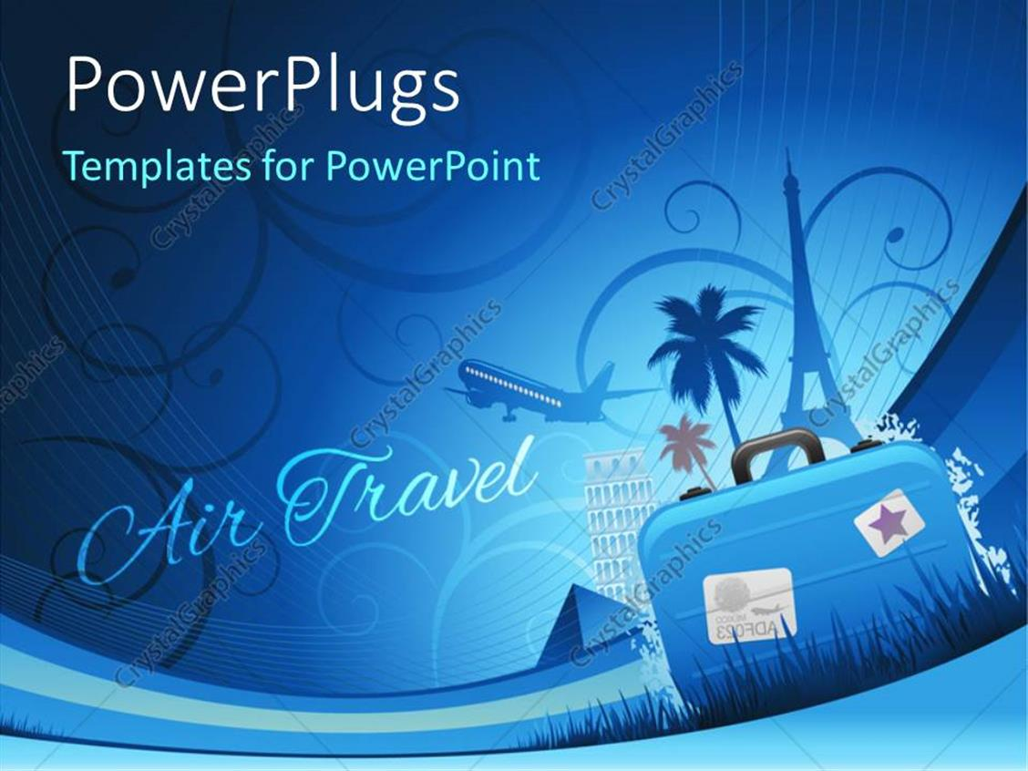 PowerPoint Template Displaying Travel Depiction with Abstract Floral Background and Travel Luggage