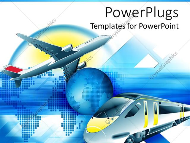 Powerpoint template travel theme with modern train and flying powerpoint template displaying travel theme with modern train and flying airplane and blue planet earth in toneelgroepblik Choice Image