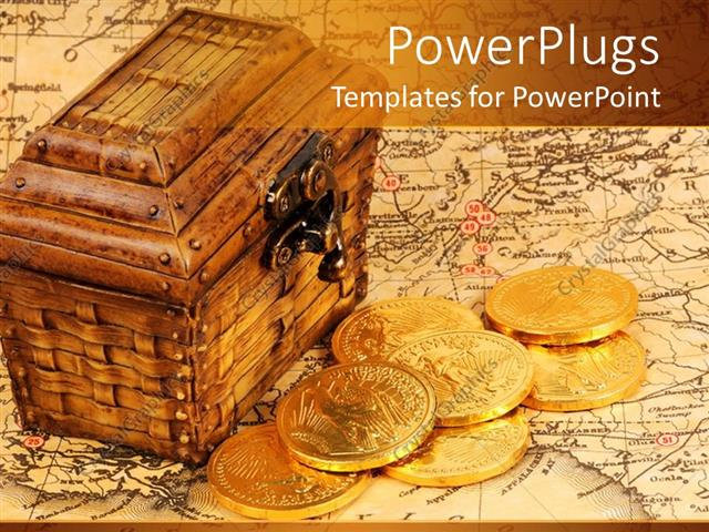 PowerPoint Template Displaying Treasure Box And Map With Gold Coins
