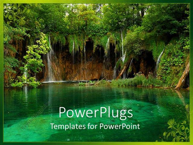 PowerPoint Template Displaying Trees Surrounding Clear Aquamarine Pond, Calm Water