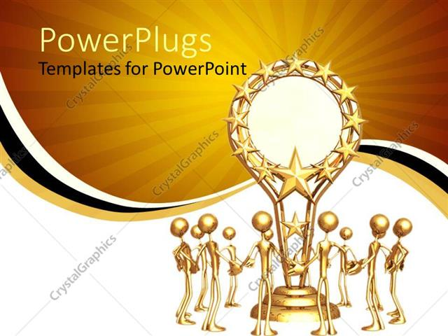 PowerPoint Template Displaying Trophy Award Gold Sun Yellow White Black Stripe Background