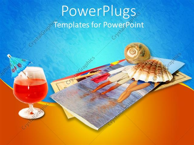 PowerPoint Template Displaying Tropical Drink, Seashells, Vacation Brochures, Travel, Hospitality