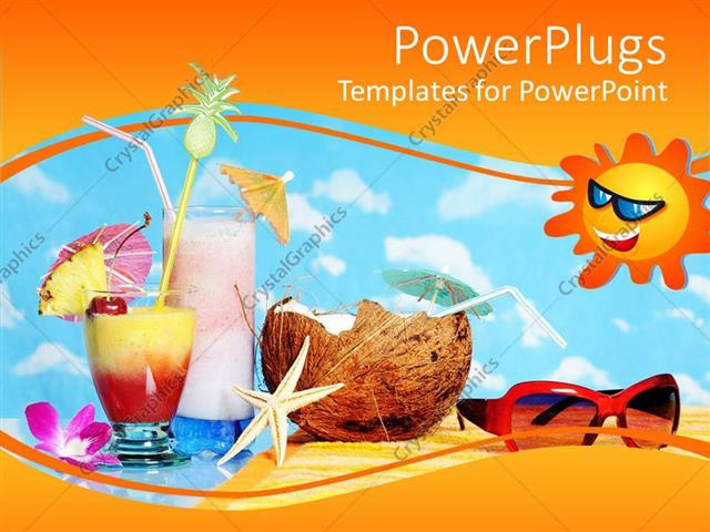 Powerpoint Template Tropical Drinks Starfish Coconut Sunglasses