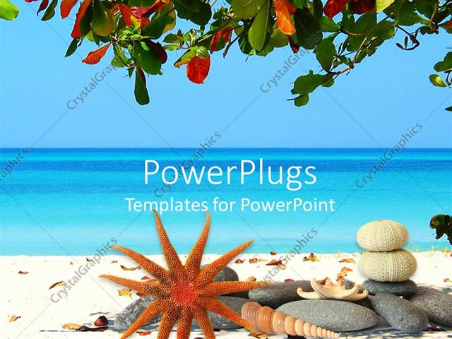 Powerpoint template tropical scenery with beach and sea tree powerpoint template displaying tropical scenery with beach and sea tree leaves at the top and stones toneelgroepblik Images