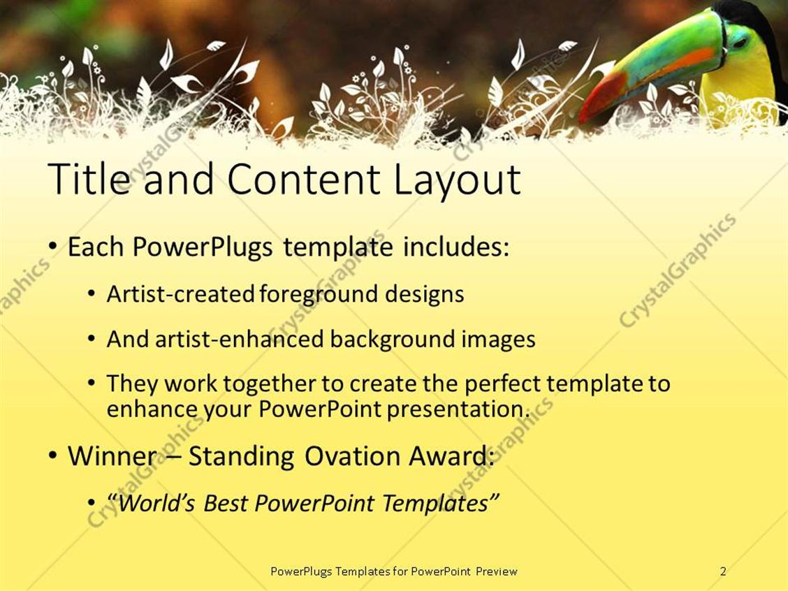 Powerpoint template a tucan enjoying its time with blurred powerpoint products templates secure toneelgroepblik Gallery