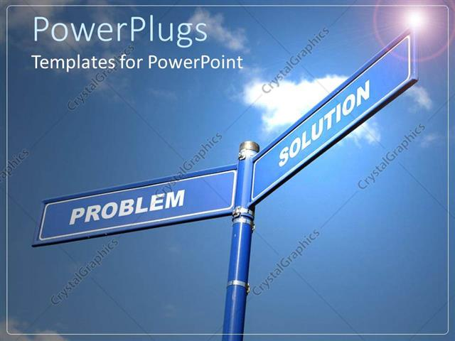 PowerPoint Template Displaying Two Blue Sign Posts with Text that Spell Out the Words