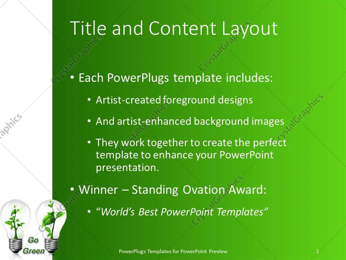 Powerpoint template two bulbs with green plants inside in green powerpoint products templates secure toneelgroepblik Gallery