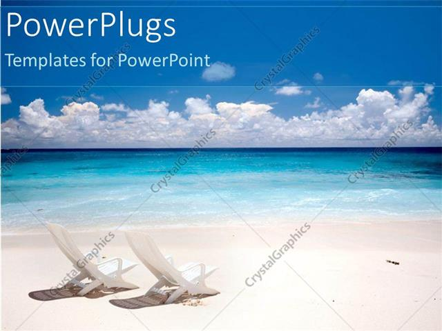 Powerpoint template two chairs on a beach white sand blue water and powerpoint template displaying two chairs on a beach white sand blue water and sky vacation getaway toneelgroepblik Image collections