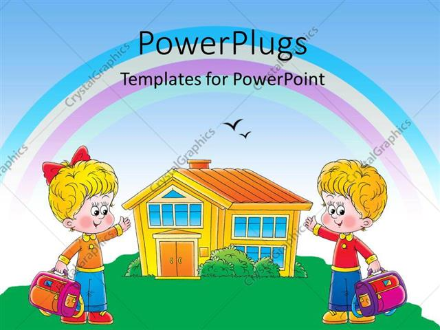 powerpoint template two children cartoon characters holding school