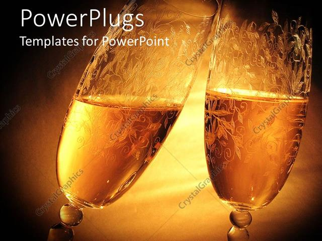 powerpoint template two clinking wine glasses on golden background