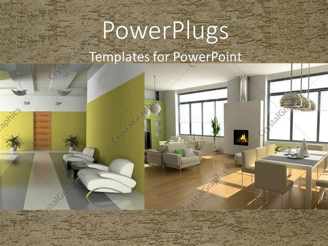 Powerpoint template two depictions of interior design with powerpoint template displaying two depictions of interior design with armchairs table and chairs and toneelgroepblik Image collections
