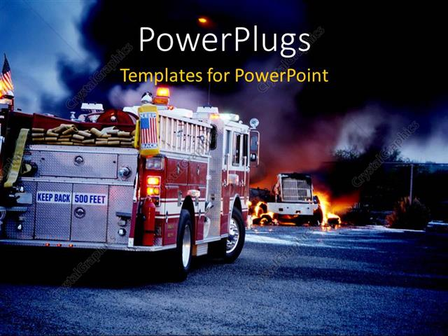 powerpoint template  two fire service trucks attending to