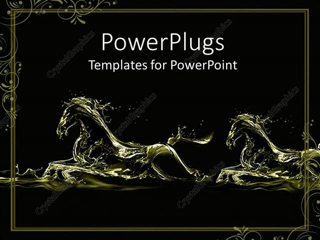Powerpoint Template Two Fluid Gold Running Horse Silhouettes On