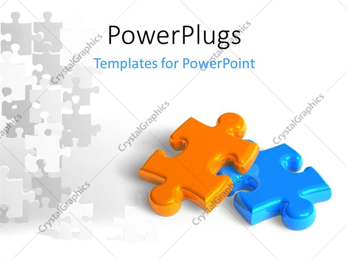 PowerPoint Template: Two glossy puzzle pieces depicting business ...