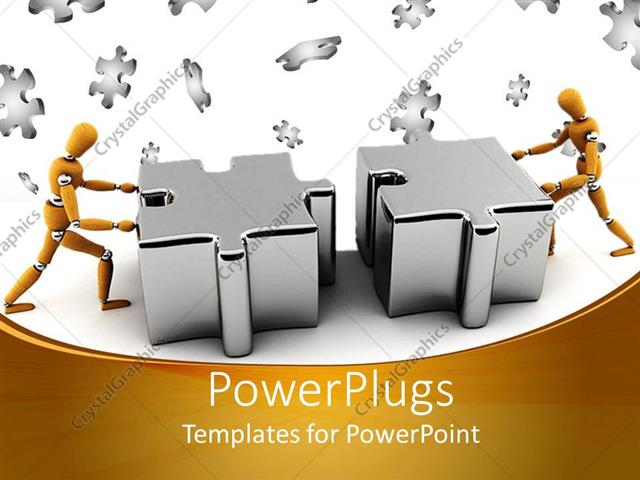 powerpoint template two gold colored robots pushing two puzzle