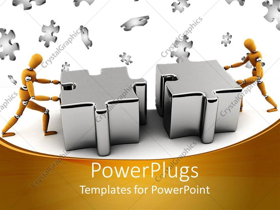 PowerPoint Template: Two gold colored robots pushing two puzzle ...