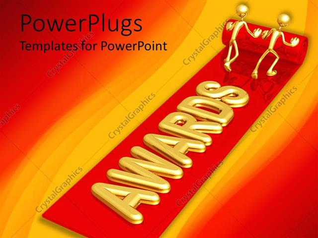 Powerpoint template two golden figures unrolling red carpet powerpoint template displaying two golden figures unrolling red carpet bearing awards with red and toneelgroepblik Choice Image