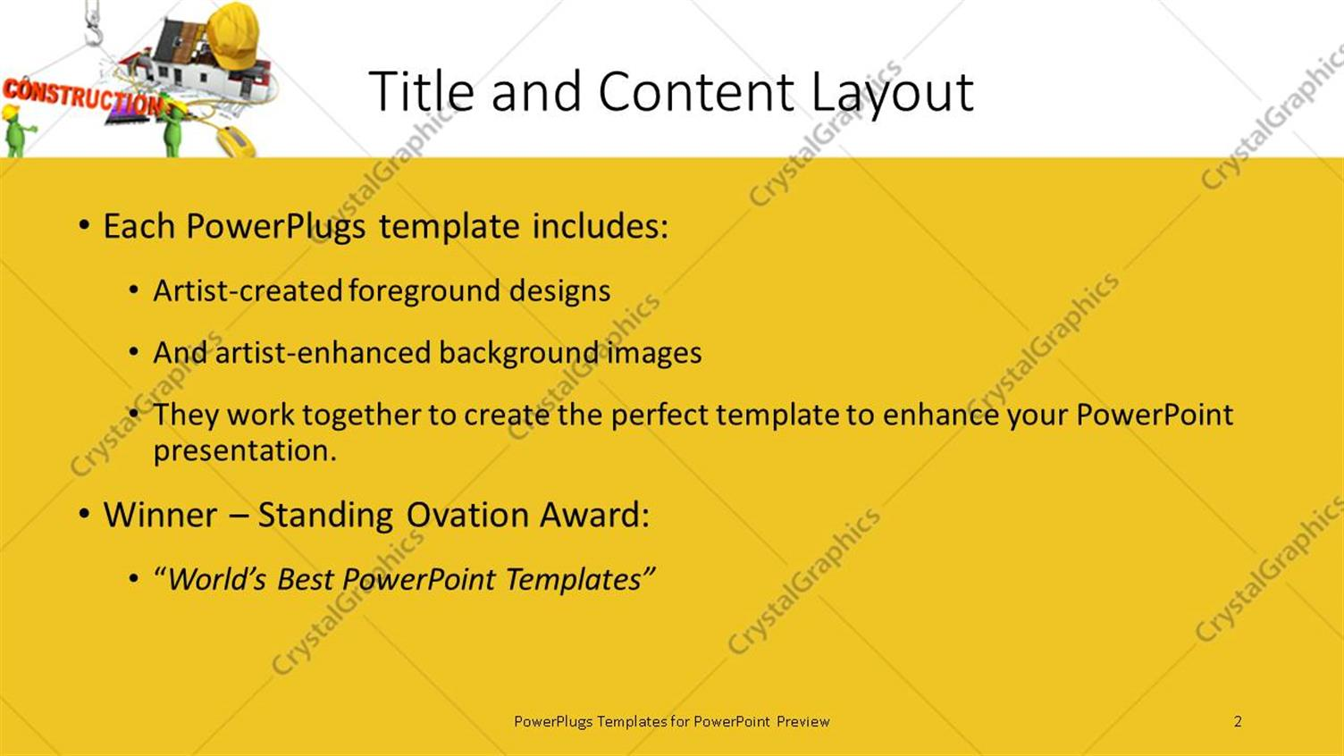 Powerpoint template two green colored animated construction powerpoint products templates secure alramifo Images