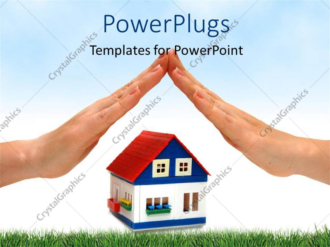 PowerPoint Template Displaying Two Hands with a Toy House in the Middle