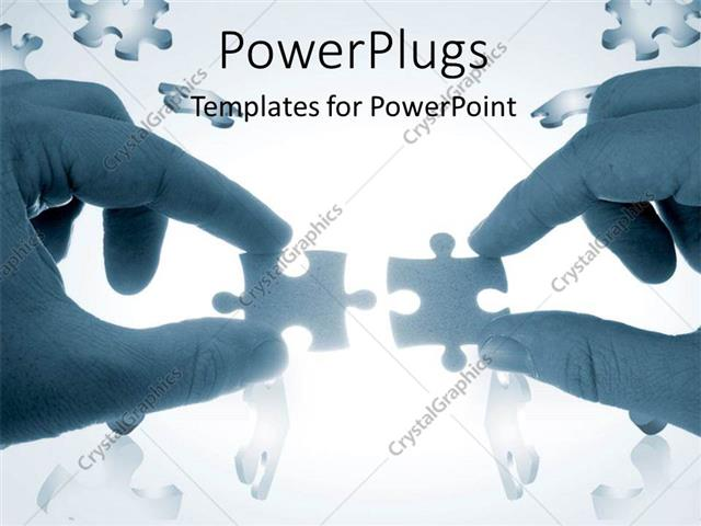 PowerPoint Template: Two hands trying to put together a