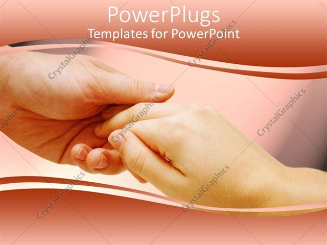 PowerPoint Template Displaying Two Holding Hands of a Man and Woman on Peach Background