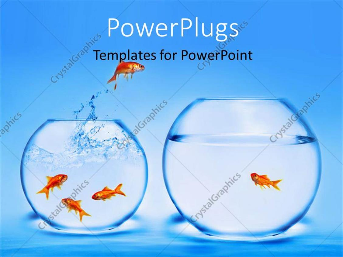 PowerPoint Template Displaying Two Jars with Gold Fishes Jumping in and Out