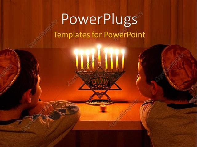 Powerpoint Template Two Jewish Boys Steering At Seven Lit Candles