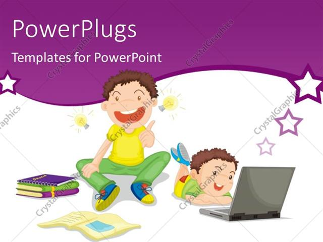 PowerPoint Template Displaying Two Kids Studying with Books and Laptop on White Background