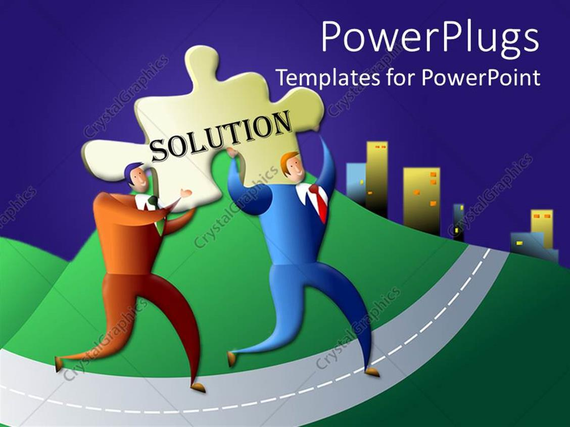 PowerPoint Template Displaying Two Men Running with a Tile that Spells Out the Word