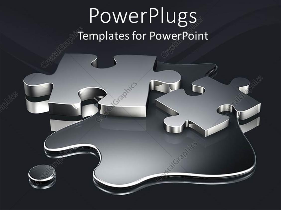 PowerPoint Template: Two metallic colored puzzle pieces on a dark ...
