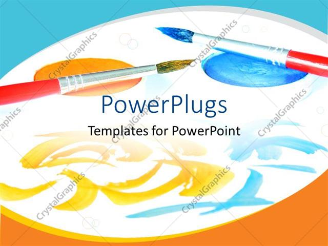 PowerPoint Template Displaying Two Painting Brushes on Painting Paper and Paint on White Paper