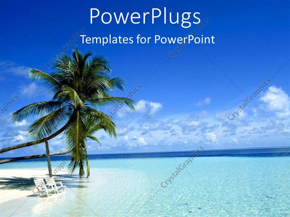 PowerPoint Template Displaying Two Palm Trees on a White Beach with Chairs in Blue Ocean Island as a Metaphor