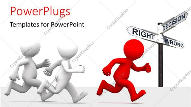 PowerPoint Template Displaying Three Figures Running with Signs in Background