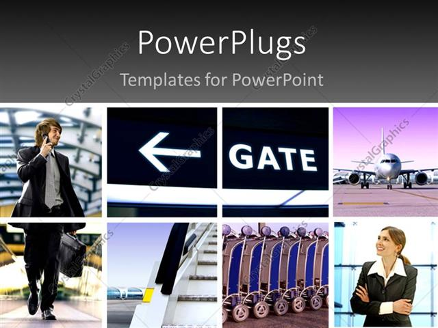 PowerPoint Template Displaying Two Professionals with the Pictures Related to Air Travelling