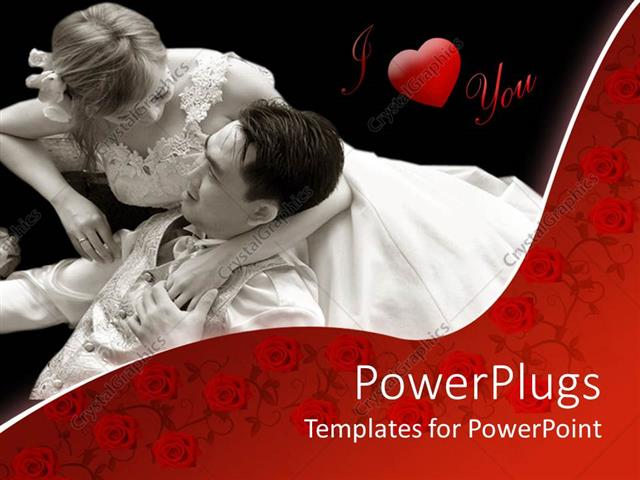 Powerpoint Template Two Romantic Lovers In White On A Black