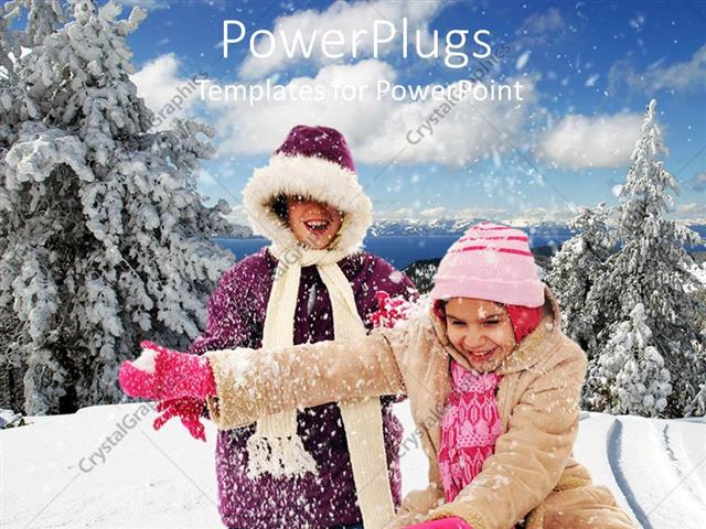 PowerPoint Template Displaying Two Smiling Humans in Winter Coats  Smiling and Playing in Snow