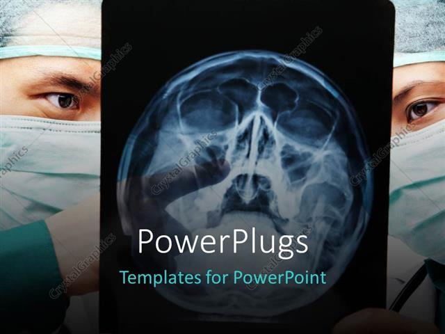 Powerpoint Template Two Surgeons With The X Ray Of A Head 28297