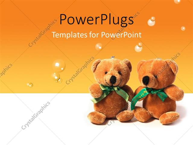 powerpoint template two teddy bears sitting on an orange colored